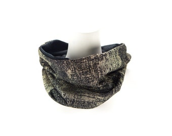 Metallic Gold and Black Cowl Scarf Tube