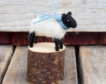 Suffolk Lamb with a Blue Tweed Scarf - Needle Felted Christmas Ornament