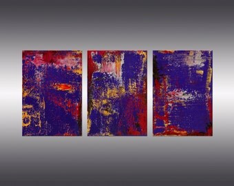 Prosperity - Original Abstract Painting, Modern Contemporary Art, Triptych, Canvas Wall Art