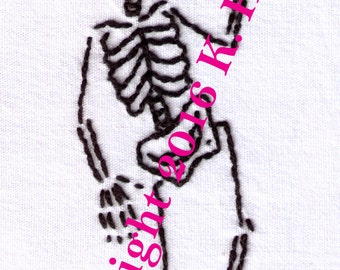 Skeleton Hand Embroidery Pattern, Dancing Skeleton, Halloween, Day of the Dead, Bones, Dead Man's Party, PDF