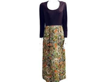Vintage 60s Metallic Br Multi-Color Dress // Maxi Hippie Festival Boho Mod Party Evening Dress// Size  S // 140