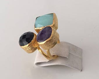 Triple Gold plated  Chalchedony, Onyx  and  Amethyst  ring