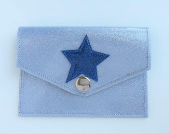 Metalflake Vinyl Snap Wallet Id Holder Platinum with Blue Star