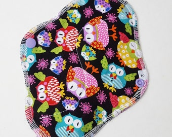 Cloth Menstrual Pad / Cloth Pad  .. 8 inch  Bright Owls Printed Cotton Regular / Average FLOW  and FREE Shipping