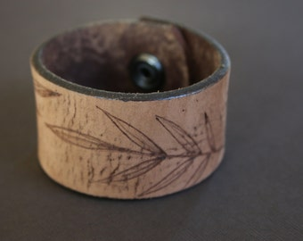 Brown Leather Cuff Bracelet, Leaves, Botanical, Hand burned, Recycled Belt, Upcycled by Stacy Rae Traynor