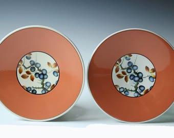 Pair of Faience Denmark Alumnia salad/bread plates - Blueberries