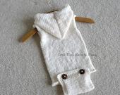 Knitted Baby Onesie, Newborn Romper, Wool Romper, Vintage Style Onesie, Newborn Photography Props, Sleeveless or long Sleeve