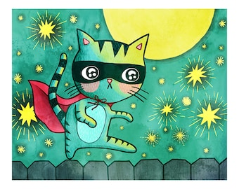 Superhero Cat Bandit - Cat Print Nursery Art Cat Art Cat Illustration Gender Neutral Baby Nursery Animal Art Print Kid Wall Art