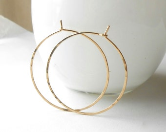 Thin Gold Hoop Earrings, Hammered Gold Filled Hoops, 1 inch, 1.25, 1.5 inch