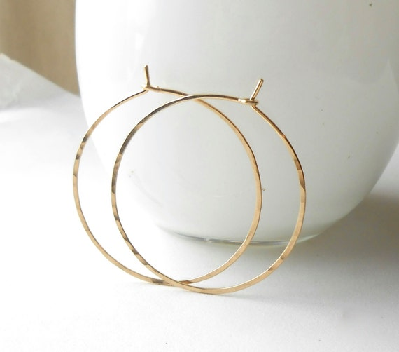 Medium Gold Hoop Earrings, Thin Hammered Gold Filled Hoops, 1 inch, 1.25, 1.5 inch