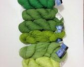 Green Yarn SIX Skeins Weekend Cotton Acrylic and Wool Alpaca Yarn Lot