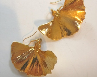 Gold Ginkgo Leaf Earrings Vintage 80s 10K
