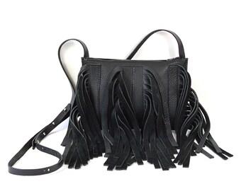 Colette - Handmade Black Leather Shoulder Bag Purse SS17