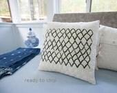 Quilted and Handprinted Modern Pillow 17x17 Toss Pillow Neutral Decor Scallop Print Hostess Gift for Him Her Gift White Linen Zip