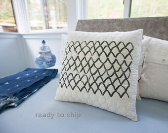 Quilted and Handprinted Modern Pillow 17x17 Toss Pillow Neutral Decor Scallop Print Hostess Gift for Him Her Gift White Linen Zip