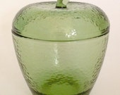 60s Green Glass Apple Keepsake Apothecary Jar with Lid