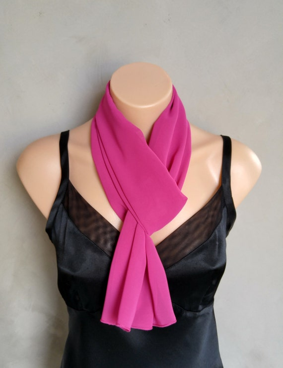 Fushia Chiffon Scarf - Perfect Summer Skinny Scarf - 56 inches long by 12 inches wide