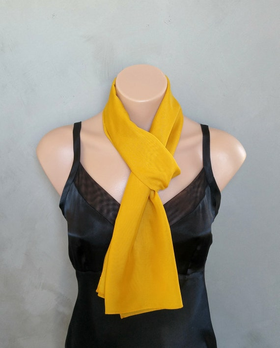 Mustard Chiffon Scarf - Summer Skinny Scarf - 56 inches long by 12 inches wide