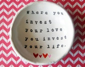 IN STOCK: Mumford & Sons, Personalized Bowl, Song Lyric Art, Catch All Dish, Personalized Sayings, Birthday Gift, Anniversary Gift