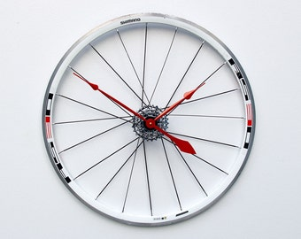 Large Wall Clock, Bike Wheel Clock, Cyclist Gift, Unique Wedding Gift, Steampunk Decor, Bicycle Wall Clock, Modern Wall Clock, recycled gift