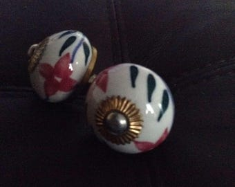 Ceramic knobs, hand painted, cabinet knobs pack of 2