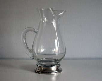 Clear Blendo Pitcher, West Virginia Glass, Vintage Barware, Iced Tea Pitcher, Silver Band, Mid Century Modern Glassware, Hand Blown Glass