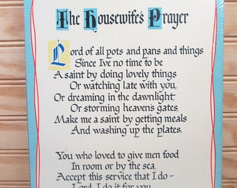 Vintage Abbey Press The Housewife's Prayer Wall Art Hanging Plaque Religious New Old Stock