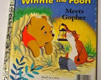Vintage Children's Book Winnie the Pooh Meets Gopher Walt Disney Little Golden Book