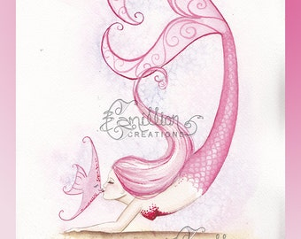 Pink Kiss Mermaid and Fish Original Watercolor Painting by Camille Grimshaw