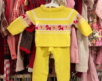 70s Knit Baby Outfit 9/12 Months