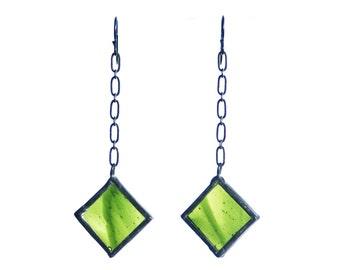 STAINED GLASS EARRINGS- Green Earrings, Chain Linked Earrings
