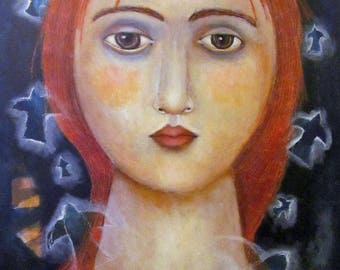 mixed media art original painting large 2 feet by three feet woman dream calm birds  mysterious ethereal face collectible stretched canvas