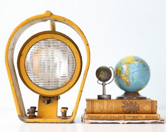 Vintage Yellow Spotlight, Industrial Yellow Lantern
