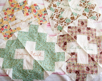 To Remember Me By...4 Vintage Quilt Blocks with Embroidered Names