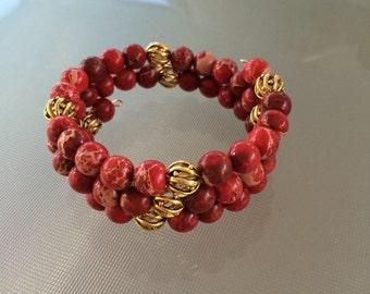 Red Sea Sediment Jasper gemstone bracelet - memory wire gold accent beads
