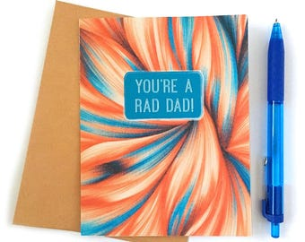 Father's Day Card - Rad Dad - Card for Stepdad - Card for Grandpa - Just because Card - Funny Father's Day - Card for Dad - Card for Husband