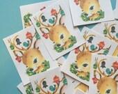 Deer Stickers - Set of 16 - Handmade Stickers, Vintage Deer, Cute Planner Stickers, Cute Christmas Deer, Vintage Holiday Stickers, Cute Deer