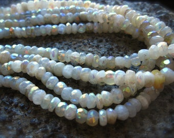 Mystic Moonstone Beads Faceted Rondelles - 5mm X 3mm - 6 1/2 inch strand