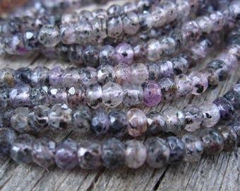 Lepidochrosite beads - faceted semiprecious gemstones - 4mm X 3mm - 6 1/4 inches