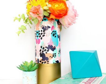 Colorful Abstract Art Pattern Wrapped Flower Vase With Matte Gold Base - Flower Vase