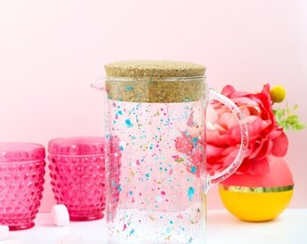 Colorful Splatter Painted Drink Pitcher - gold, turquoise, and hot pink kitchenware