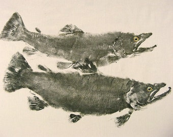 GYOTAKU fish Rubbing Two Brown Trout 8.5 X 11 quality Art Print Cottage Decor Fly Fishing by artist Barry Singer