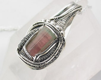 Watermelon Tourmaline Pendant Wire Wrapped Pendant Tourmaline Wire Wrap Heady Wire Wrap Jewelry Sterling Silver
