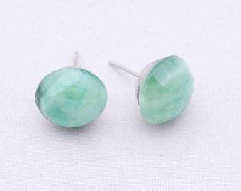 Beautiful Vintage Green Glass Cabochon Stud Earrings, Green Studs, Jade Green Earrings, Surgical Steel Stud Earrings, Half-drilled Studs