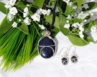 Blue Goldstone Pendant and Earring Set, Sterling silver and stone pendant set, Bling, Large stone pendant, Earrings and pendant