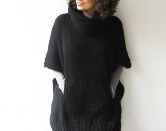 WINTER SALE Black Plus Size Over Size Mohair Hand Knitted Poncho with Accordion Hood and Pocket Tunic - Dress by Afra