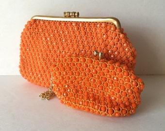 Orange Beaded Crocheted 1960's Plastic Mod Small Clutch and Matching Coin Purse Wristlet