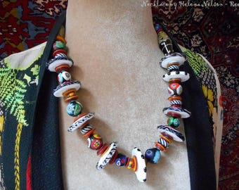 Statement necklace, artisan and vintage Venetian glass beads, one of a kind