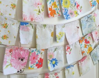 vintage style fabric sheet garland, retro sheeting prayer festival flags, bunting, banner, pennant, Spring flower Party Prop, Flags Decor