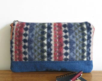 Large Wool Clutch, Navy Blue and Denim, Upcycled Sweater Wool and Denim Purse